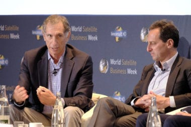 Viasat CEO Mark Dankberg, left, and Telesat CEO Daniel Goldberg at World Satellite Business Week in Paris (SpaceNews/Brian Berger)